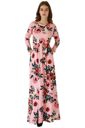 YMING Womens 3/4 Sleeve Spring Flower Casual Floor Length Maxi Dress Green,S