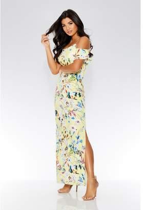 Quiz Yellow Floral Cold Shoulder Maxi Dress