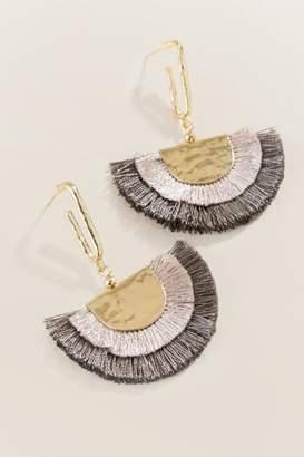 francesca's Theodora Double Fan Tassel Earrings - Gray