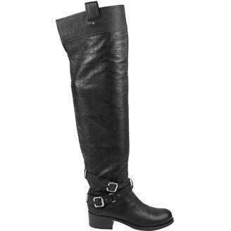 boots chanel quilt quilted black calfskin riding