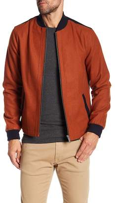 NATIVE YOUTH Colorblock Wool Blend Bomber Jacket