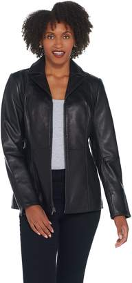 Denim & Co. Lamb Leather Zip-Front Jacket with Shirred Detail