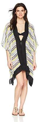 Coastal Blue Women's Swimwear Tie Front Kimono Cover Up,L/XL