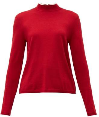 RED Valentino Tie Neck Wool Blend Sweater - Womens - Dark Red