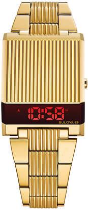 Bulova Men Digital Archive Computron Gold-Tone Stainless Steel Bracelet Watch 31.1x40.3mm