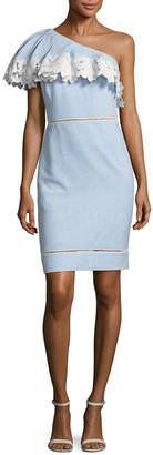 Badgley Mischka One Shoulder Eyelet Day Dress