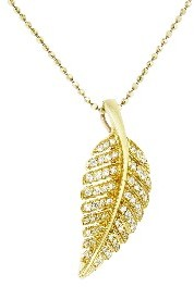 Jennifer Meyer Small Diamond Leaf Necklace - Yellow Gold