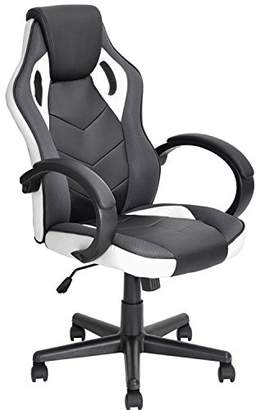 Coavas Computer Gaming Racing Chair Office High Back PU Leather Computer Chair Executive Swivel Task Desk Chair(Black+ White)