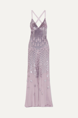 Temperley London Starlet Open-back Sequin-embellished Chiffon Gown - Lilac
