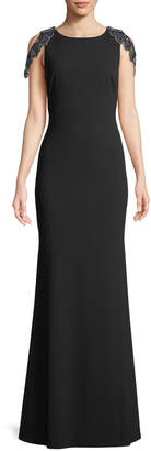 Aidan Mattox Jersey Gown w/ Back Beaded Fringe