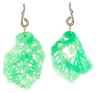 Sylva + Cie 18K Chrysoprase & Diamond Leaf Drop Earrings
