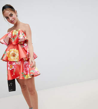 Asos DESIGN Petite structured tiered mini dress in bright floral print