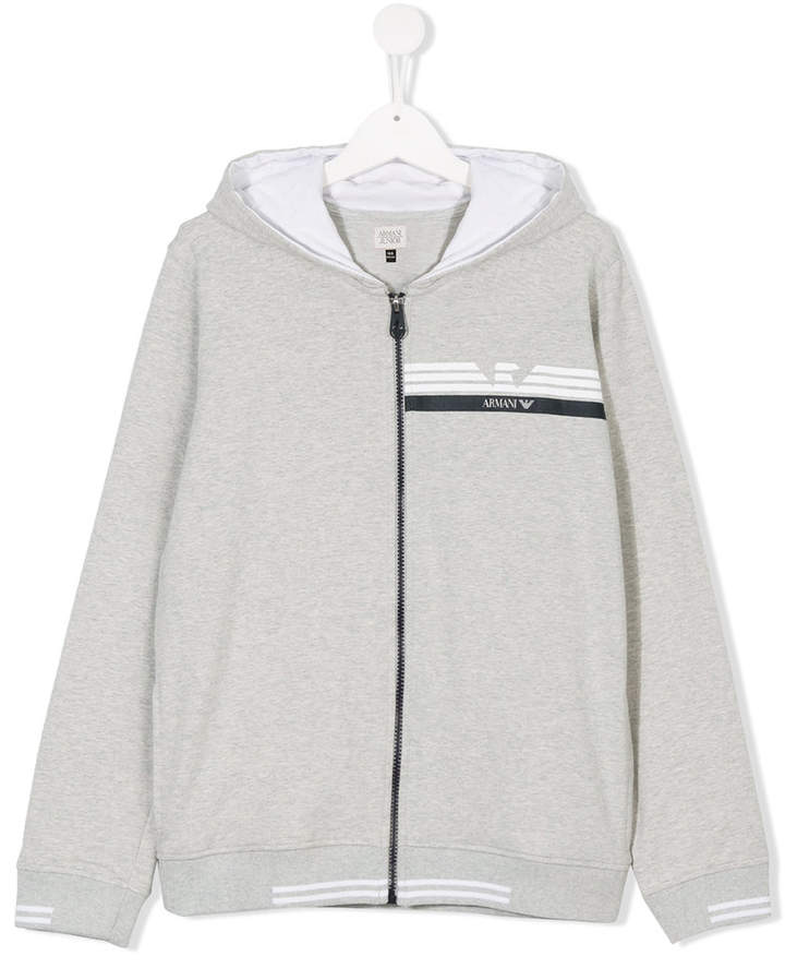 TEEN logo print zip-up hoodie