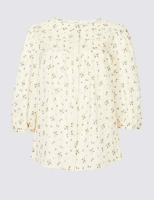 Marks and Spencer Pure Cotton Printed 3/4 Sleeve Blouse