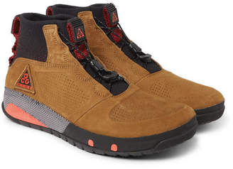 Nike Acg Ruckel Ridge Perforated Suede And Flyknit Sneakers - Tan