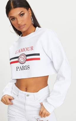 PrettyLittleThing White Lamour Cropped Sweater