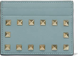 Valentino Garavani The Rockstud Leather Cardholder - Sky blue