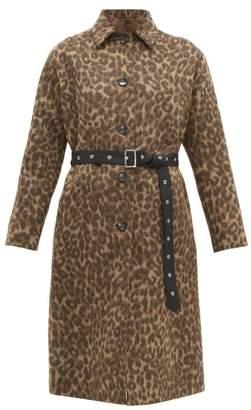 Officine Generale Elsa Leopard Print Wool Blend Belted Coat - Womens - Multi