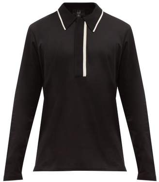 Dunhill Knitted Trim Long Sleeve Cotton Jersey Polo Shirt - Mens - Black