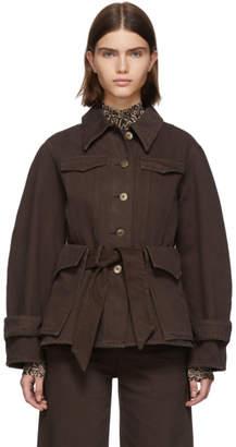 Nanushka Brown Denim Fortuna Jacket