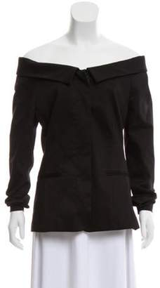 Frame Off-The-Shoulder Structured Blazer Black Off-The-Shoulder Structured Blazer