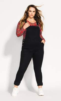 City Chic Skinny Jean Overall - black