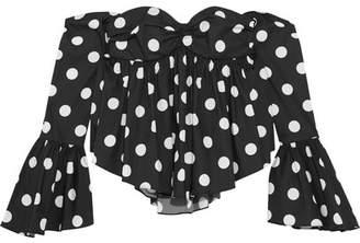 Caroline Constas Off-the-shoulder Polka-dot Cotton-blend Poplin Top - Black
