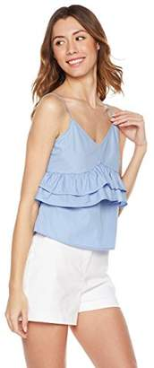 Plumberry Jouniors' Spaghetti Strap Sexy Ruflle Deep V Neck Camisole Croped Top