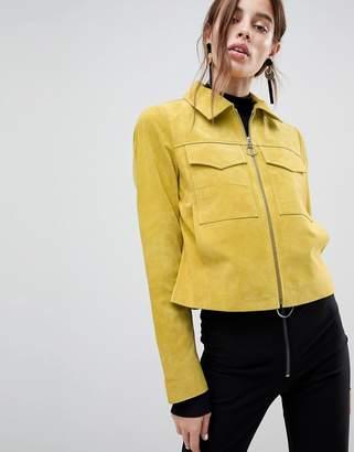 Asos Design Pocket Suede Jacket