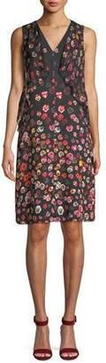 Elie Tahari Jezeble V-Neck Sleeveless Floral-Print Silk Shift Dress