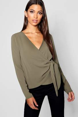 boohoo Wrap Over Tie Side Blouse