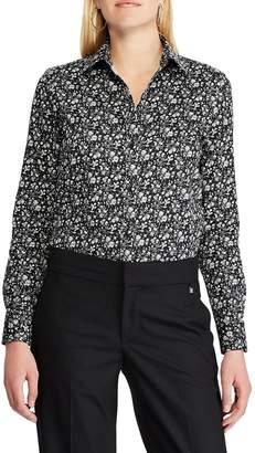 Chaps Petite Straight-Fit Floral Cotton Button-Down Shirt