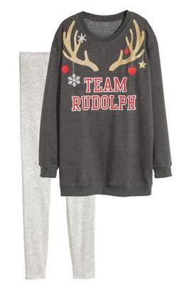 H&M Pajama Top and Leggings - Red - Women