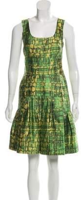 Oscar de la Renta Printed Drop-Waist Dress Green Printed Drop-Waist Dress
