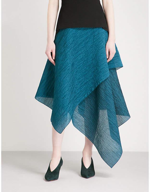 Textured cotton-blend midi skirt