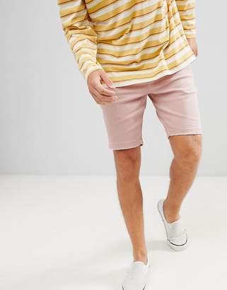 Bershka Slim Fit Denim Shorts In Pink
