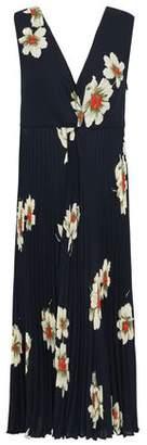 Vince Floral-print Pleated Crepe Midi Dress