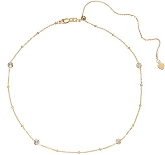 14k Gold Cubic Zirconia Station Choker Necklace