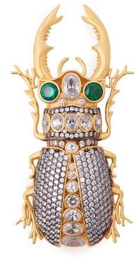Begum Khan - King Beetle Crystal & 24kt Gold Plated Brooch - Womens - Crystal