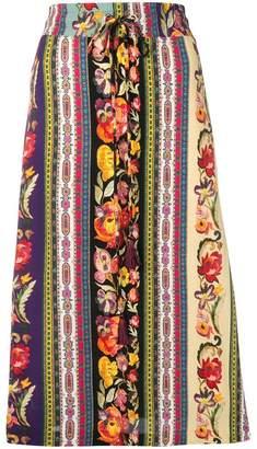 Etro bohemian striped midi skirt