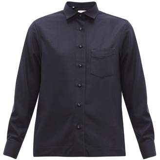 Officine Generale Solene Brushed Wool Shirt - Womens - Navy