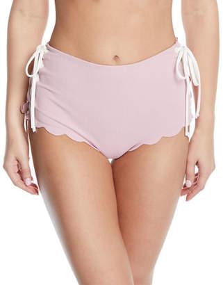 Marysia Swim Palm Springs Tie-Sides High-Waist Textured Swim Bikini Bottoms