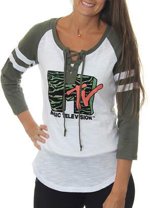 Asstd National Brand MTV Juniors' Animal Stripes Logo Lace-Up Graphic Raglan T-Shirt with Flocking