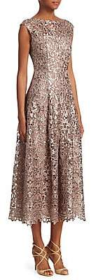 Talbot Runhof Women's Metallic Lace Midi Dress