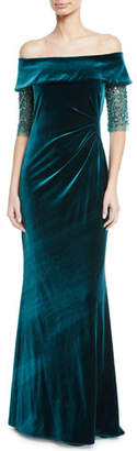 Rickie Freeman For Teri Jon Bead-Sleeve Off-the-Shoulder Velvet Gown