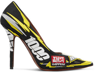 Vetements Race Printed Embroidered Canvas Pumps - Yellow
