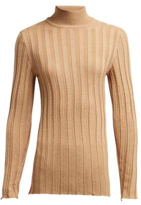 Marni Roll Neck Ribbed Wool Sweater - Womens - Beige Multi