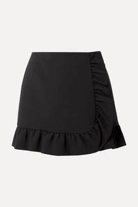 Miu Miu Ruffled Cady Wrap Mini Skirt - Black
