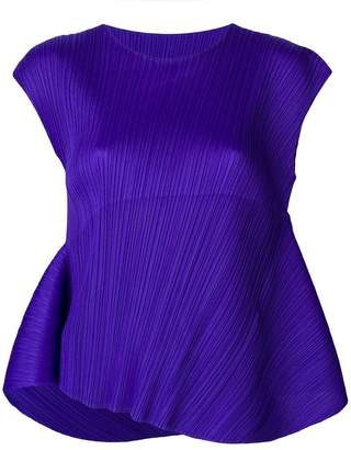 Pleats Please Issey Miyake asymmetric pleated T-shirt