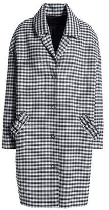 Mother of Pearl Ruffle-Trimmed Checked Twill Coat
